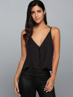 Loose Buttoned Cami Strappy Tank Top - Black S