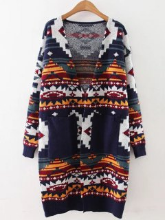 Geometric Jacquard Knit Long Cardigan - Deep Blue