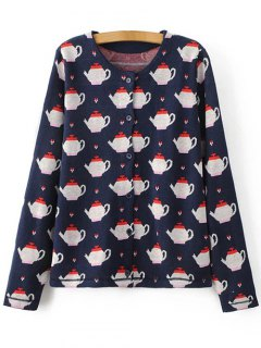 Teapot Jacquard Knit Cardigan - Purplish Blue