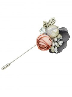Rhinestone Flower Shape Brooch - Gray