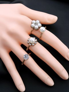Rhinestone Faux Pearl Floral Ring Set - Golden One-size