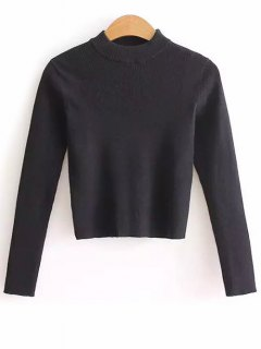 Mock Neck Cropped Pullover Sweater - Black