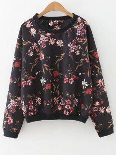 Floral Print Crew Neck Sweatshirt - Black M