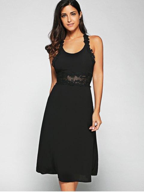 hot Racerback Lace Midi Dress - BLACK S Mobile