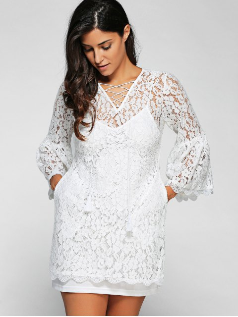 shop Cut Out V Neck Flare Sleeve Lace Dress with Cami Dress Twinset - WHITE 2XL Mobile