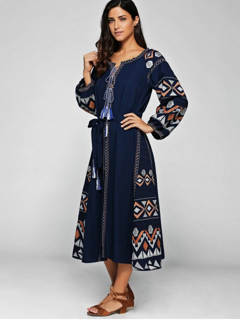 fashion Lantern Sleeve Embroidered Belt Maxi Dress - BLUE M Mobile