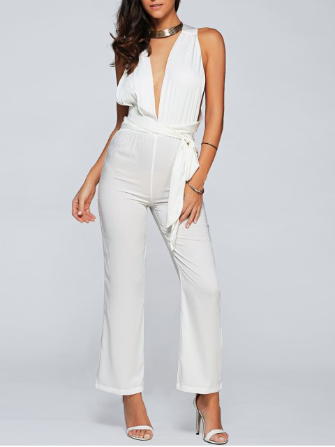 affordable Back Criss Cross Jumpsuit - WHITE L Mobile