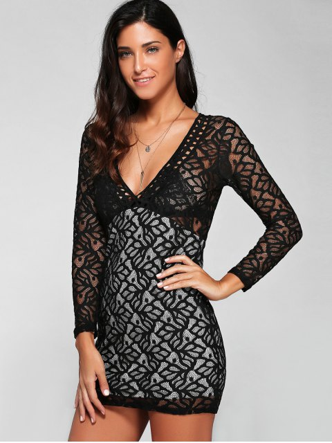outfit Plunging Neck Long Sleeve Lace Party Dress - BLACK M Mobile