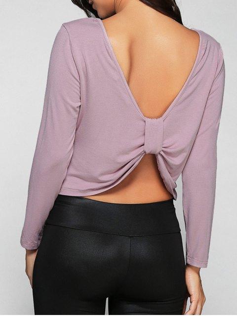 women Back Knot T-Shirt - LIGHT PURPLE M Mobile
