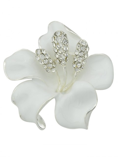 trendy Rhinestone Floral Brooch - WHITE  Mobile