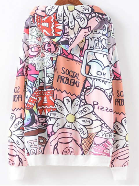 womens Front Pocket Cartoon Letter Print Hoodie - COLORMIX M Mobile