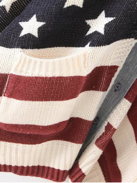 latest American Flag Dolman Cardigan - COLORMIX ONE SIZE Mobile