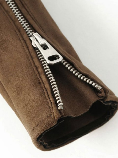 fashion Lapel Zipper Pockets Suede Jacket - KHAKI M Mobile