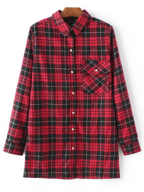 lady Checked Embroidered Shirt - RED L Mobile