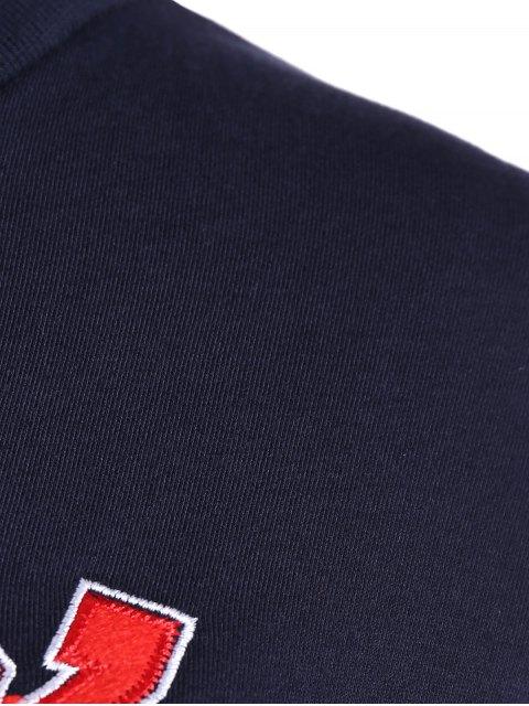 hot Letter Print Sweatshirt With Drawstring Pants - DEEP BLUE 2XL Mobile