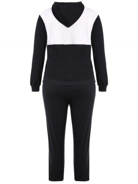 unique Color Block  Zip Up Hoodie With Pants - BLACK 2XL Mobile