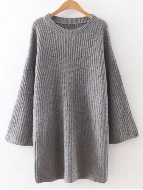 online Drop Shoulder Long Sleeve Sweater Dress - GRAY ONE SIZE Mobile