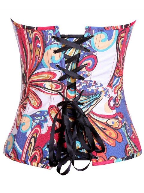 unique Lace Up Butterfly Printed Corset - BLUE S Mobile