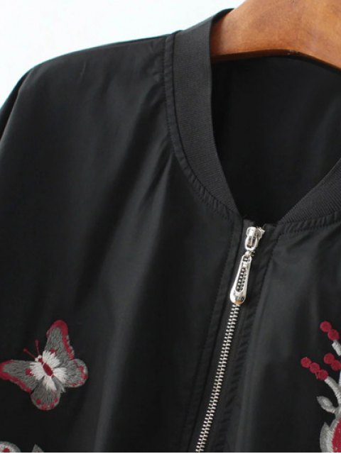 outfit Puffed Sleeve Bomber Jacket - BLACK L Mobile