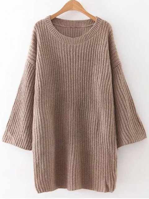 shops Loose Sweater Mini Dress - BROWN ONE SIZE Mobile