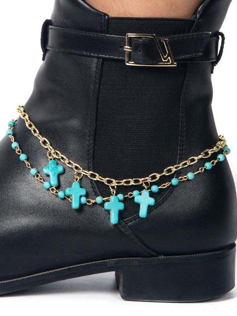 shops Beaded Cross Boot Anklet -   Mobile