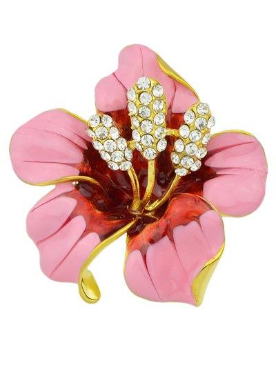 Rhinestone Floral Brooch - PINK  Mobile
