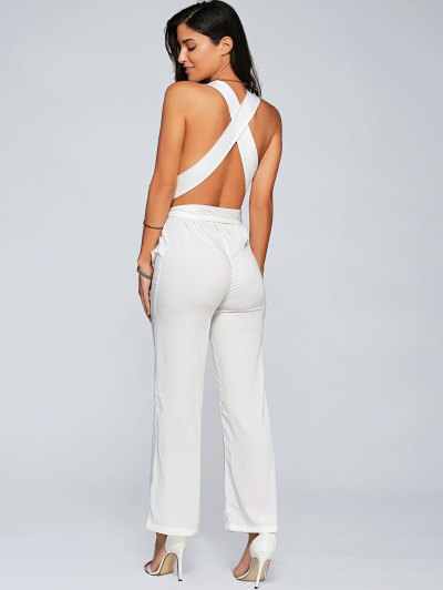Back Criss Cross Jumpsuit - WHITE L Mobile