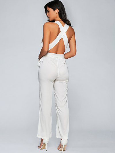 Back Criss Cross Jumpsuit - WHITE M Mobile