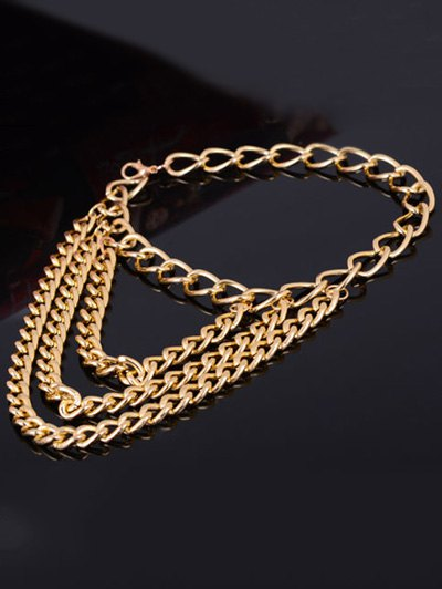 Layered Chain Design High Heels Boot Anklet - GOLDEN  Mobile