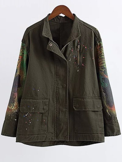 Printed Utility Jacket - Army Green