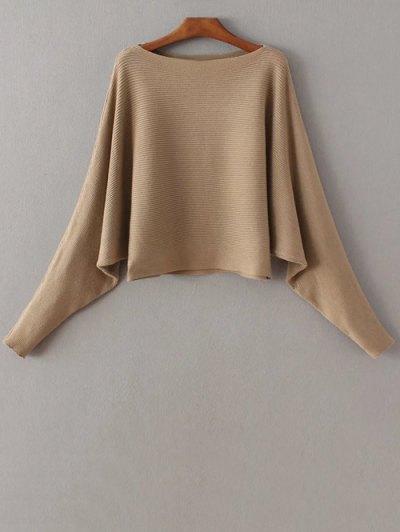 Batwing Sleeve Boat Neck Sweater - Khaki