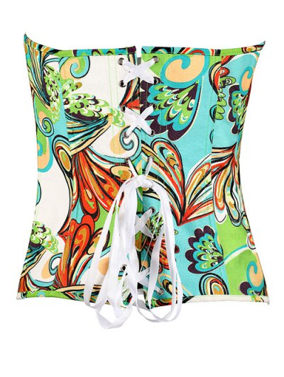 Lace Up Butterfly Printed Corset - GREEN S Mobile