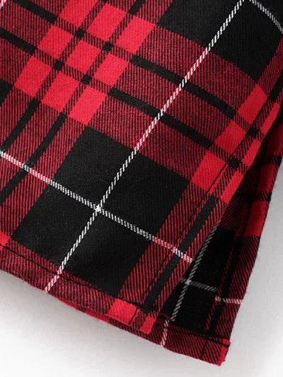 Checked Embroidered Shirt - RED L Mobile