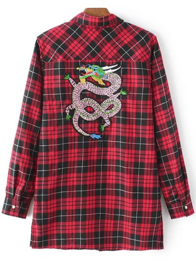 Checked Embroidered Shirt - RED M Mobile