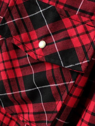 Checked Embroidered Shirt - RED S Mobile