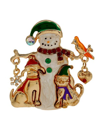 Christmas Snowman Resin Brooch - GOLDEN  Mobile
