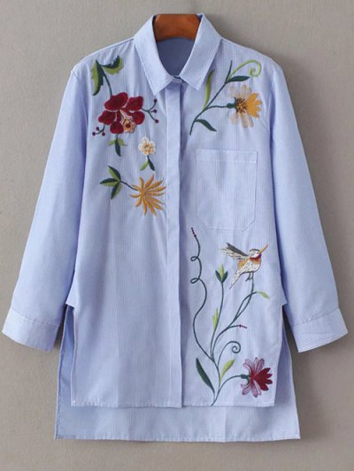 Embroidered Striped Casual Shirt - Blue