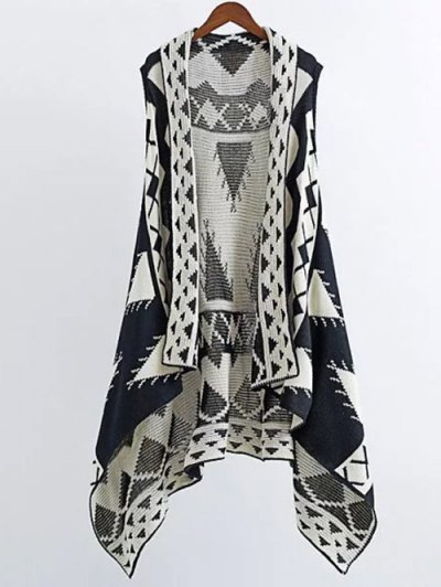 Knitting Printed Cape Waistcoat - BLACK M Mobile
