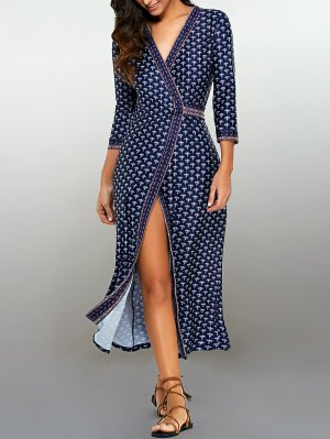 Printed Wrap Dress - Purplish Blue