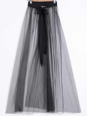 See-Through Slit Skirt - Black