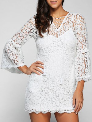 Cut Out V Neck Flare Sleeve Lace Dress With Cami Dress Twinset - White