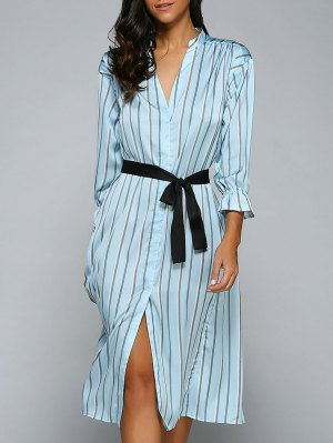 Furcal Striped Midi Dress - Light Blue