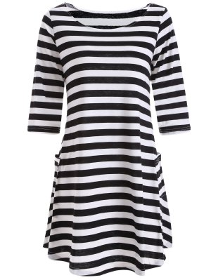 A Line Striped Dress With Pocktes - White And Black