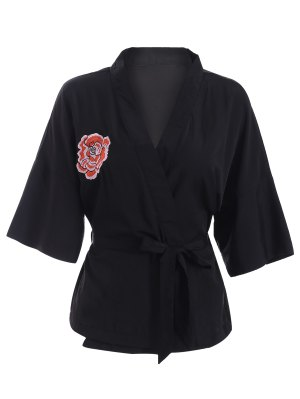 Embroidered Belted Kimono - Black