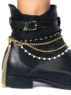 Tassel Layered Beaded Boot Anklet - Golden