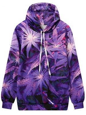 Leaf Print Hooded Sweatshirt - Purple