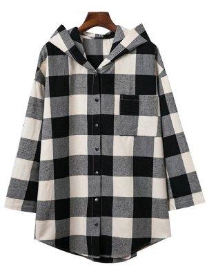 Hooded Oversized Plaid Shirt
