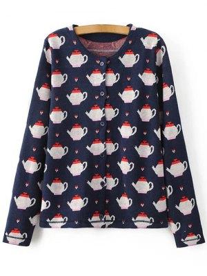 Teapot Jacquard Knit Cardigan - Purplish Blue