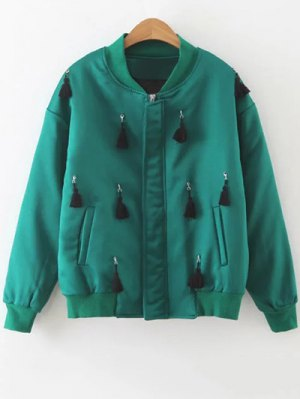 Fringed Bomber Jacket - Green