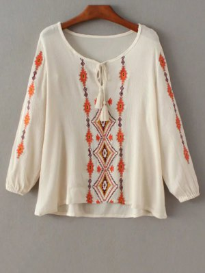 Embroidered Peasant Top - Off-white